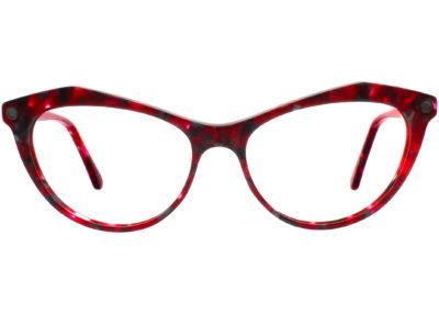 red plastic acetate grey cat eye frame