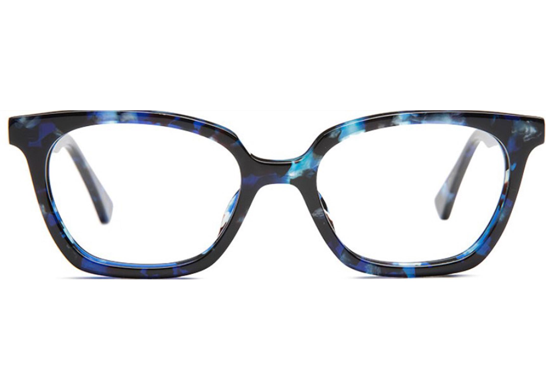 wayfarer blue plastic acetate angles frame eyeglasses attitude