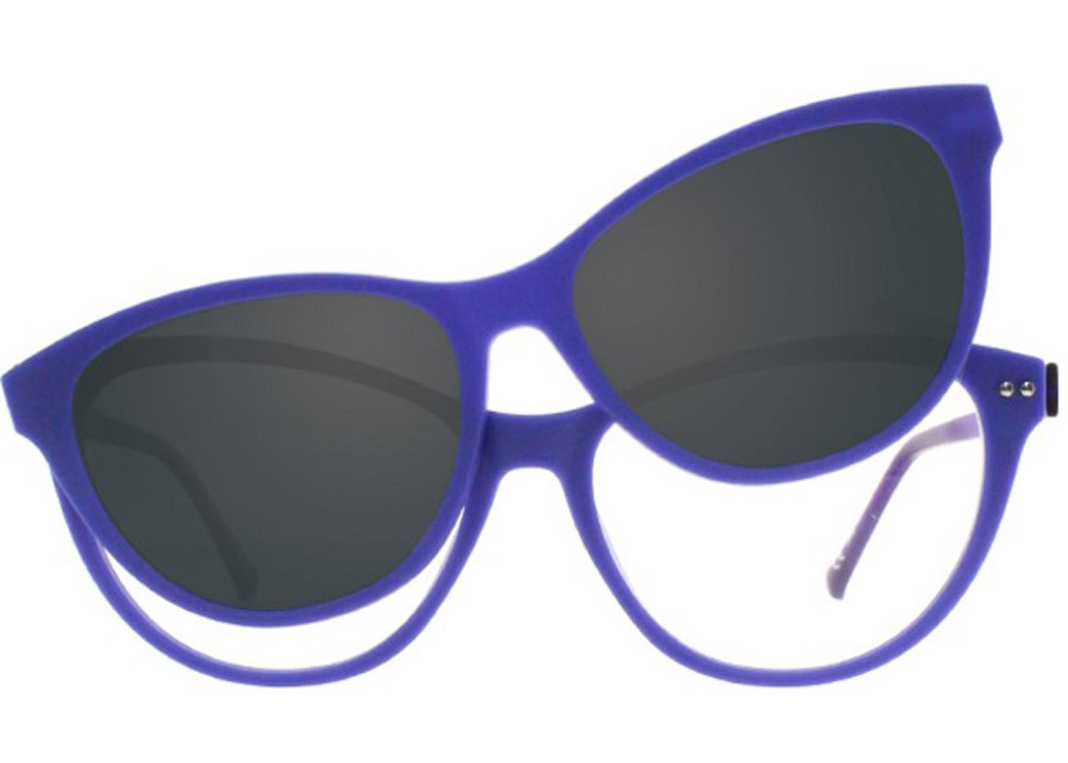 Periwinkle plastic cat eye violet purple sun clip polarized magnetic